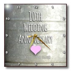 Rose Dpp 154441 2 10th Wedding Anniversary Gift Tin Celebrating 10 Years Together Tenth Anniversaries Wall Clock