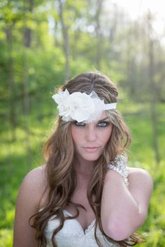 Vintage Style Ivory Flower Headband with Crystal Beading | Gorgeous Bridal Headpieces by The Yellow Peony | Photograph by Pond Photography  http://www.storyboardwedding.com/bridal-headpieces-by-the-yellow-peony/