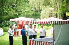 Love the idea of tented food stations for an outdoor wedding. You could have separate tents set up for things like carnival games and food stations like caramel apples.
