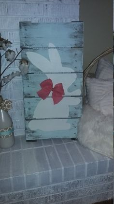 Bunny Rabbit Wood Pallet sign FREE SHIPPING by DixieDoDesigns