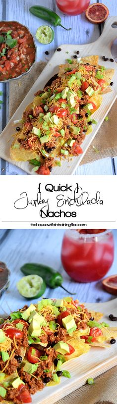 Quick and flavorful Enchilada Nachos with spiced, lean ground turkey makes these loaded nachos a crowd pleaser! #glutenfree #Mexican #healthy #nachos