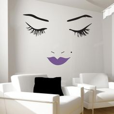 Beautiful Face Wall Decal with Violet Lips. Select your own lip color! From Wall Decal World