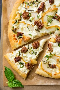 Pear Goat Cheese and Italian Sausage Pizza with Roasted Garlic and Fresh Basil | Cooking Classy