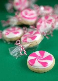 Peppermint Sugar Cookies via @Bakerella -- easily sub butter for CHO!