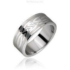 Surgical Steel Tribal Symbol Ring #mspiercing #piercings