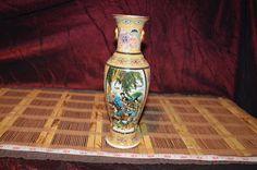 """Asian Porcelain Vase Geisha w/ Raised Floral & dots 8 1/8""""x2 1/2"""" #unknown"""