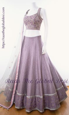 BRIDAL LEHENGA ONLINE Featuring a lavendar lehenga. This lehenga is beautified with heavy embroidery & lace work within the attire . Half Saree Designs, Lehenga Designs, Choli Designs, Bridal Lehenga Online, Lehenga Choli Online, Long Gown Dress, Lehnga Dress, Dress Indian Style, Indian Dresses