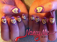 Fancy Heart Nails with Mickey Rhinestones