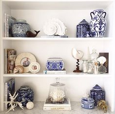 35 The Best Bookshelf Decor Ideas For Yo. - 35 The Best Bookshelf Decor Ideas For Your Living Room – Whether you have a built-in bookshelf or - White Bookshelves, Decorating Bookshelves, Bookcases, Living Room Grey, Living Room Decor, Blue And White Living Room, Hamptons Style Decor, Bookcase Styling, White Rooms