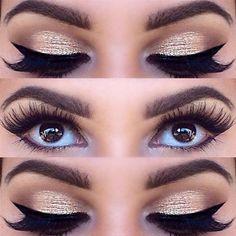 Golden eye shadow: