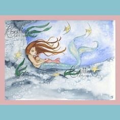Mermaid and Sleeping Baby Daughter  Print by camillioncreations, $6.99