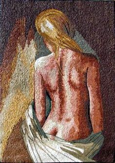 This breathtaking hand-made marble mosaic mural showing a sensual scene of a naked woman showing her back side .It is composed of all natural stones and hand-cut art tiles. Tile Murals, Mural Art, Tile Art, Mosaic Designs, Mosaic Patterns, Pattern Art, Marble Mosaic, Mosaic Glass, Mosaic Art Projects