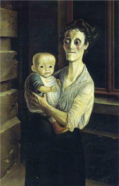 Otto Dix (German 1891–1969) [Expressionism, Neue Sachlichkeit] Mother with Child, 1921. Galarie Neue Meister, Dresden, Germany.