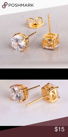 24K Yellow Gold Plated Earrings 24K Gold Plated Rhinestone CZ Earrings PRICE IS FIRM UNLESS 2 OR MORE ITEMS , NO TRADES Queen Esther Etc Jewelry Earrings