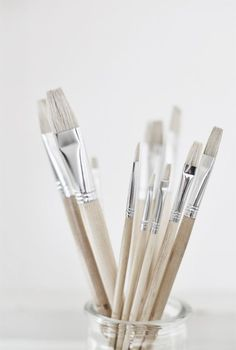 Artist Paint Brushes   -  Neutral Colors:  Gray, Tan, Silver