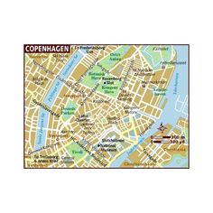 Map of Copenhagen ❤ liked on Polyvore featuring map
