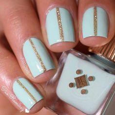 Mint & Gold Glitter Nail Design