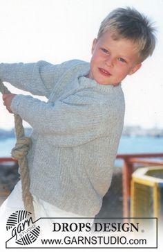 Sweater in Ull-Bouclé. Free knitting pattern by DROPS Design. Baby Knitting Patterns, Baby Sweater Knitting Pattern, Kids Patterns, Knitting For Kids, Crochet For Kids, Free Knitting, Crochet Baby, Knit Crochet, Crochet Patterns