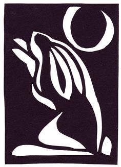 ACEO papercut - Moon Rabbit - black and white - lunar year celebration