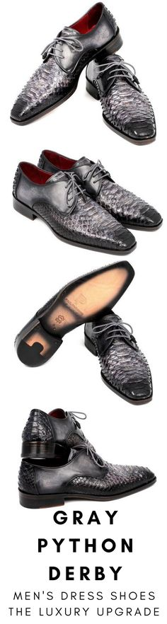 Mens dress shoe in black and gray python Derby by Paul Parkman. Luxury mens handmade dress shoes, formal shoes, business shoes for any occasion. These shoes come in multiple sizes. They are hand-painted with care by expert shoemakers. #mensdressshoes #dressshoes #shoes #mensfashion #socks #laces #handmade #bestshoes #luxuryshoes #businessshoes #formalshoes