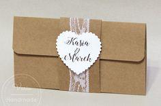 Rustykalne zaproszenia na ślub Handmade, Hand Made, Handarbeit