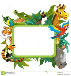 Banner - Frame - Border - Jungle Safari Theme - Illustration For The Children…