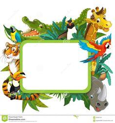 Banner - Frame - Border - Jungle Safari Theme - Illustration For The Children…