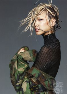 Camo and nose rings…. Vogue Japan, April 2014