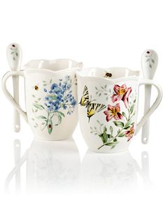 Lenox Dinnerware, Set of 2 Butterfly Meadow Cocoa Mugs with Spoons | macys.com