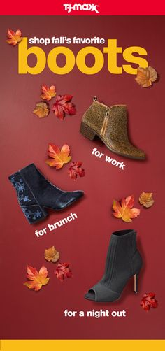 Grow your fall boot collection with these three must-haves. A versatile bootie in a neutral color transitions well for work or the weekend, while a block heel keeps your style on point without sacrificing comfort.A night out calls for the edgy sock-boot trend, paired with your coolest fall outfit. Find more fall boots on T.J.Maxx and tjmaxx.com.