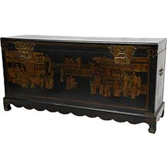 @Overstock - This Ming dynasty-era blanket chest features lacquered brass butterfly hasps and is finished with a medium gloss black lacquer and hand-painted with a traditional oriental village scene in muted, antiqued colors.http://www.overstock.com/Worldstock-Fair-Trade/Black-Lacquer-Daily-Life-Trunk-China/6440299/product.html?CID=214117 $701.99