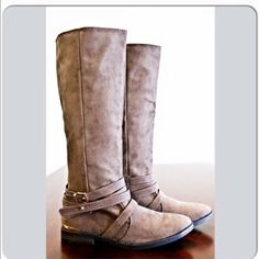 Sandy Colored Calf Boots REPOSH! Bought these, love these, just too small. True size 6! Narrow! Comes with box! Wore them once. 14 in circumference. Pull on style. ❌NO PP NO TRADES❌ Shoes Winter & Rain Boots