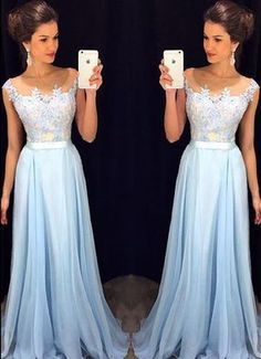 Light Sky Blue Appliques Custom Made Charming Prom Dress,Formal Dresses,Evening Dresses On Sale,a line prom dress
