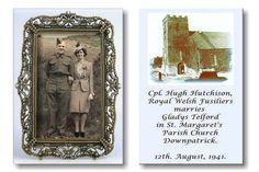 HUGH HUTCHISON, LOCHGELLY,SCOTLAND, MARRIES GLADYS TELFORD, IN DOWNPATRICK,NORTHERN IRELAND.