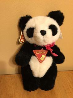 Vintage PANDA BEAR ~ 1988 Domino Dakin Plush Stuffed Animal Toy Tags Black White #Dakin
