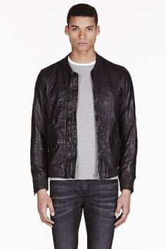 Black Leather Bomber Jacket by Diesel. Buy for $925 from SSENSE