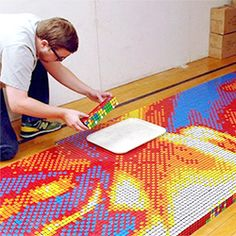 Paying tribute to Martin Luther King Jr., artist Pete Fectau used over 4,000 Rubik's Cubes for this mural.