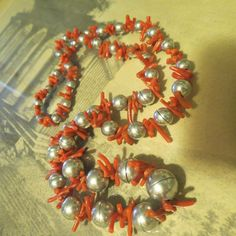 Vintage Branch Coral Sterling silver Necklace 26 inch