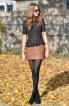 peplum top & leather mini skirt.