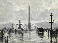 Paul Gustave Fischer (1860-1934) Place de la concorde  - Paris