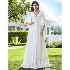 Sheath/Column Petite / Plus Sizes Wedding Dress - Ivory Floor-length V-neck Chiffon – USD $ 159.99