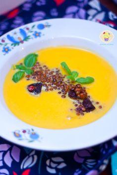 Krem z dyni z soczewicą - DusiowaKuchnia.pl Curry, Pudding, Desserts, Food, Flan, Curries, Postres, Puddings, Deserts