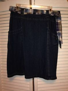 Womens Kim Rogers Blue Jean Denim Madra Patchwork Belted Skirt Size 10 NWT $12 #denim #bluejeanskirts #denimskirts
