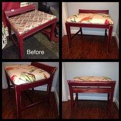 Charming little bench makeover: distressed and new  upholstery