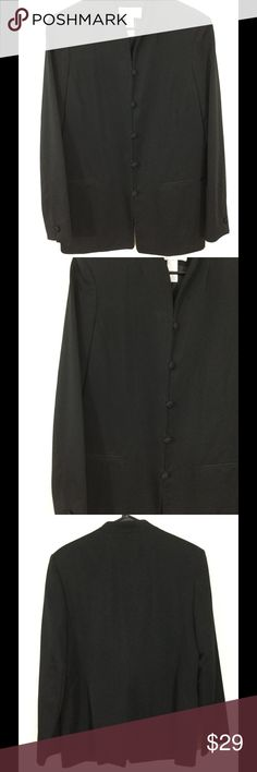 "Contemporary black blazer Nice contemporary details with the buttons and the sans lapel neckline, excellent condition, I'm downsizing my blazers, this one looks really nice with blouses and button downs, chest measures 20"", length is 30"" Liz Claiborne Jackets & Coats Blazers"
