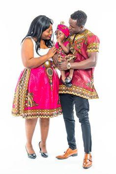 Fuchsia and Burgundy Dashiki Family Set African Love, African Wear, African Attire, African Style, African Print Dresses, African Dresses For Women, African Prints, African Fabric, Ghanaian Fashion