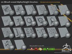ArtStation - 20 Zbrush sculpted wood brushes, Jonas Ronnegard