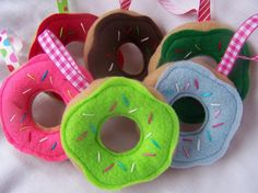 Sweet Stack Set of 6 FELT Doughnut Christmas Tree Ornaments or Present Topper by EmmyCake, $20.00