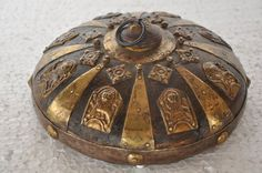 1930's Old Wooden Brass Decorated Handcrafted Snuff / Tobacco Powder Box