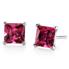 MSRP: $499.99  Our Price: $299.99  Savings: $200.00         Item Number: E18510-E18980    Availability: Usually Ships in 5 Business Days         PRODUCT DESCRIPTION:    These beautiful earrings for her feature vibrant Princess Cut Lab Created Rubies with a Pigeon Blood Hue with Brilliant Sparkle in 14k Gold and are essential for any girl's jewelry collection. These gorgeous studs are fashioned into sleek white or yellow gold four-pronged settings. The Fit is secure and comfortable with…